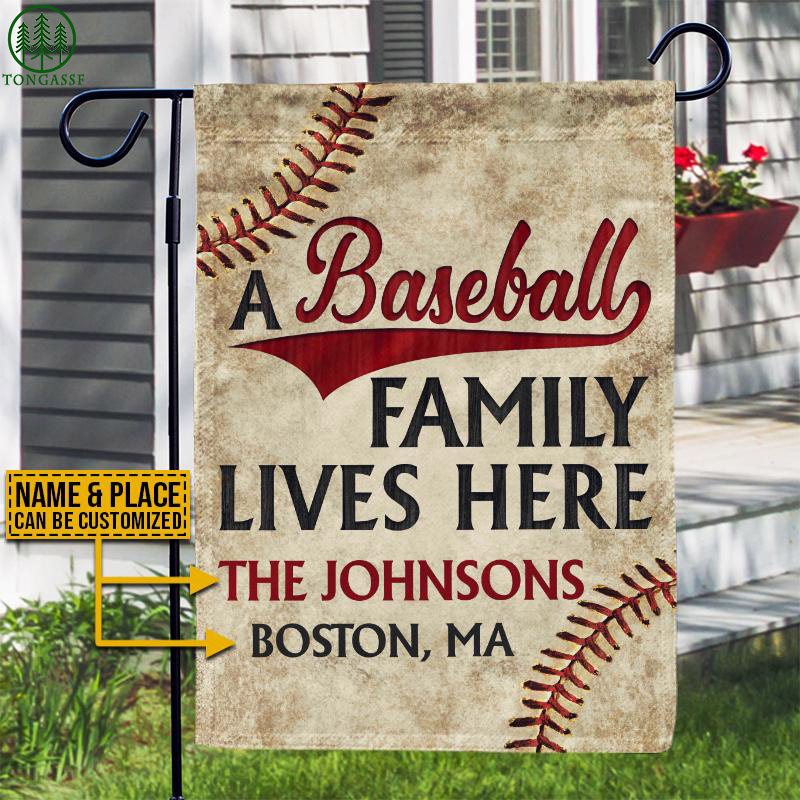 Personalized Baseball Family Lives Here Customized Flag