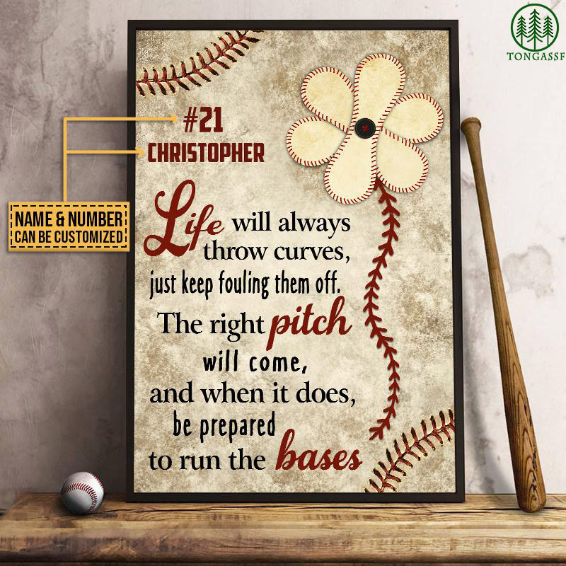 Personalized Baseball Life Always Throw Curves Customized Poster