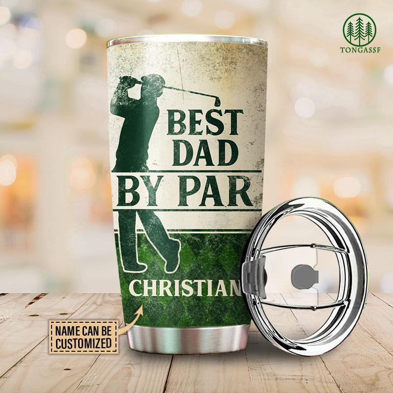 Personalized Best Dad by par golf tumbler