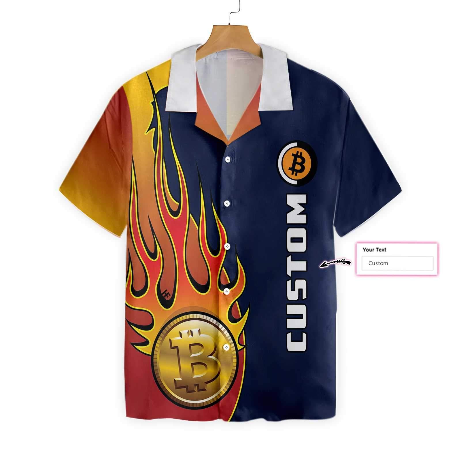 Personalized Bitcoin Crypto Logo Hawaiian Shirt 2