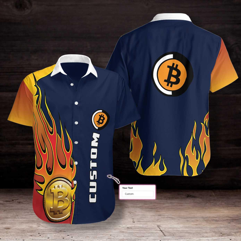 Personalized Bitcoin Crypto Logo Hawaiian Shirt
