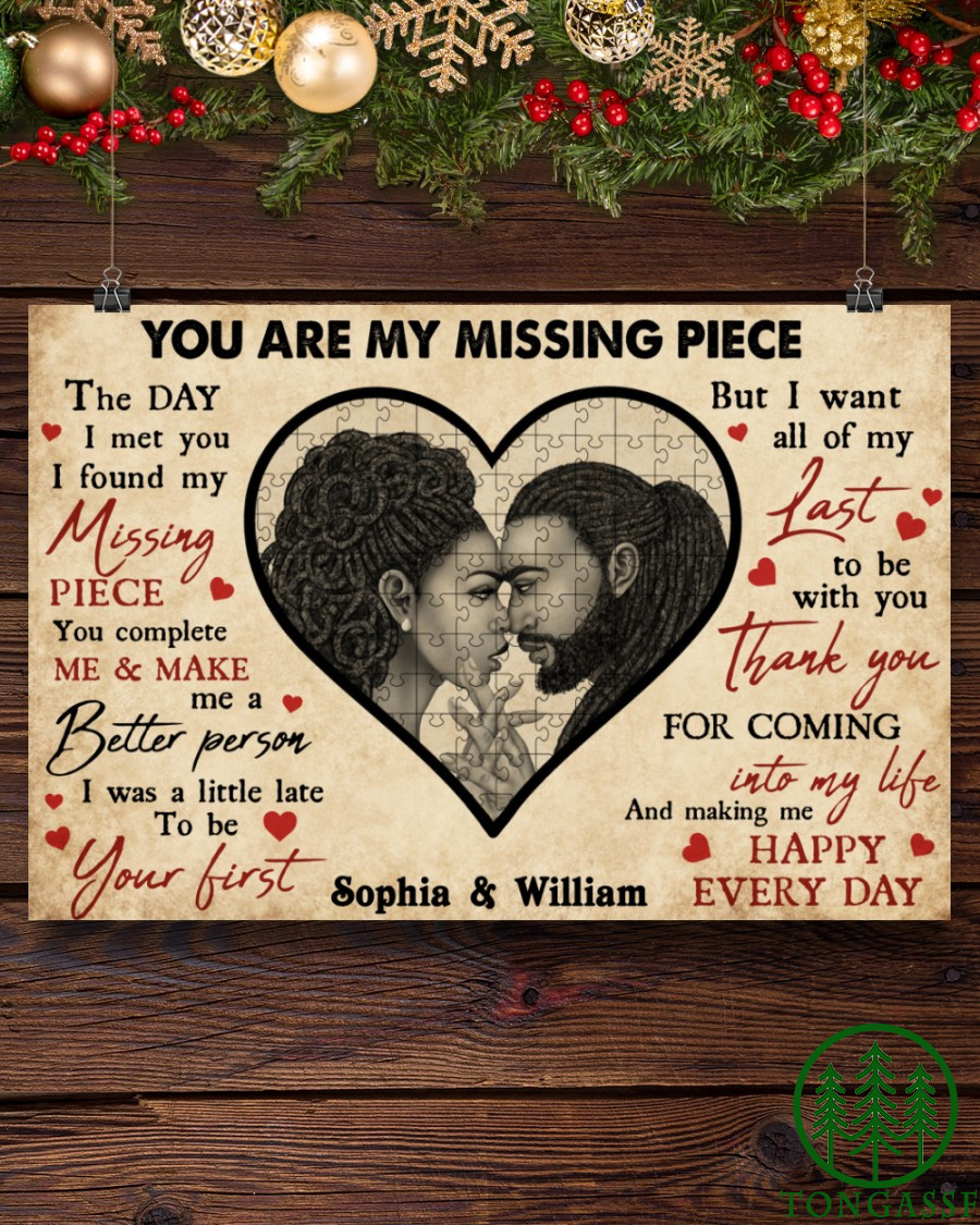 Personalized Black Couple Missing Piece Horizontal Poster