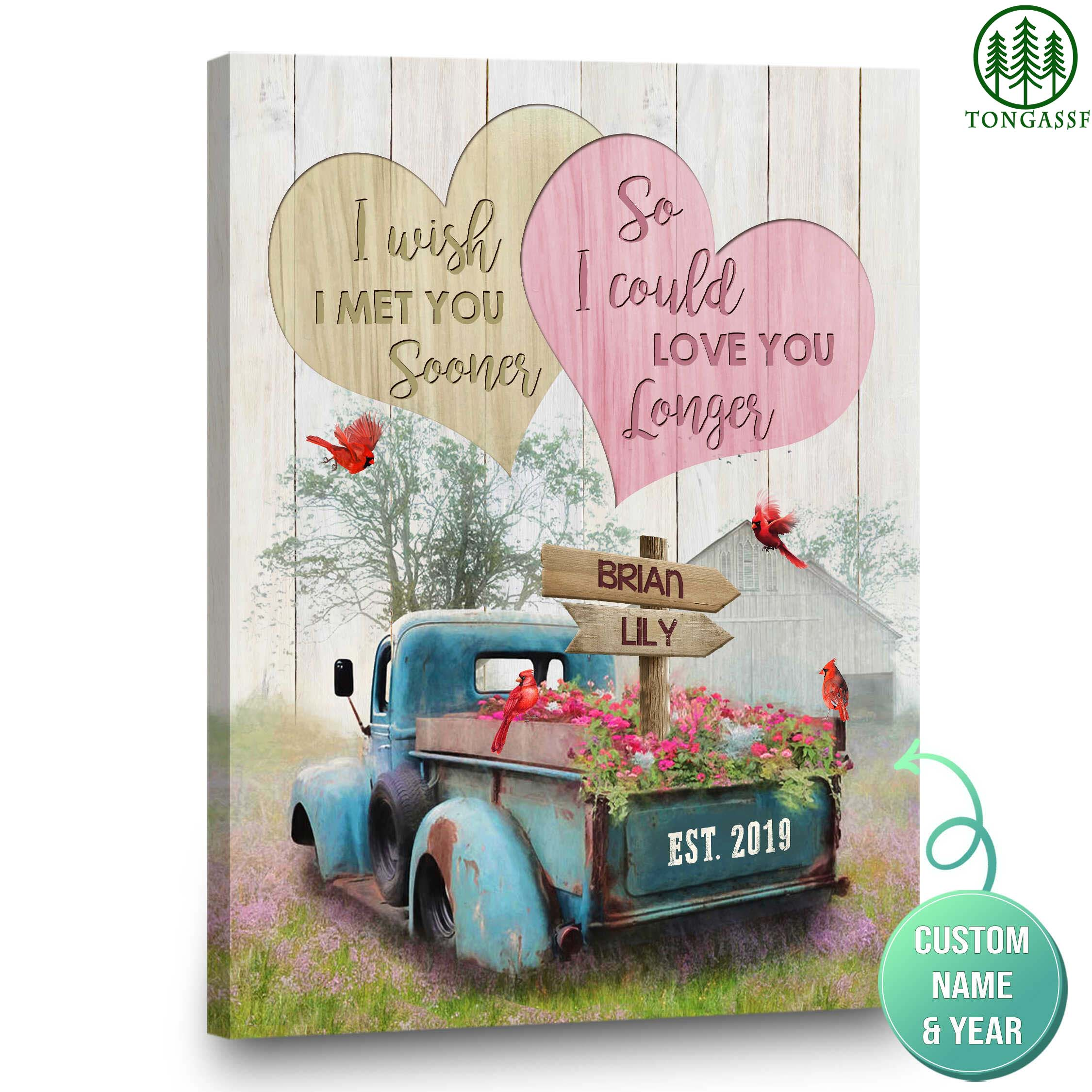 Personalized Blue Truck Farmhouse Decor I Wish I Met You Sooner Canvas