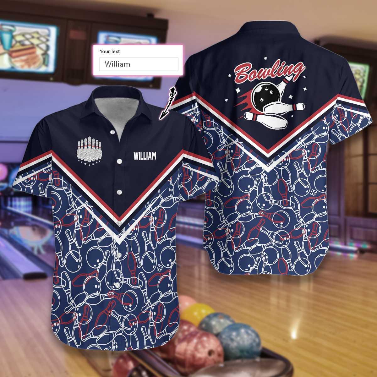 Personalized Bowling Pattern Hawaiian Shirt