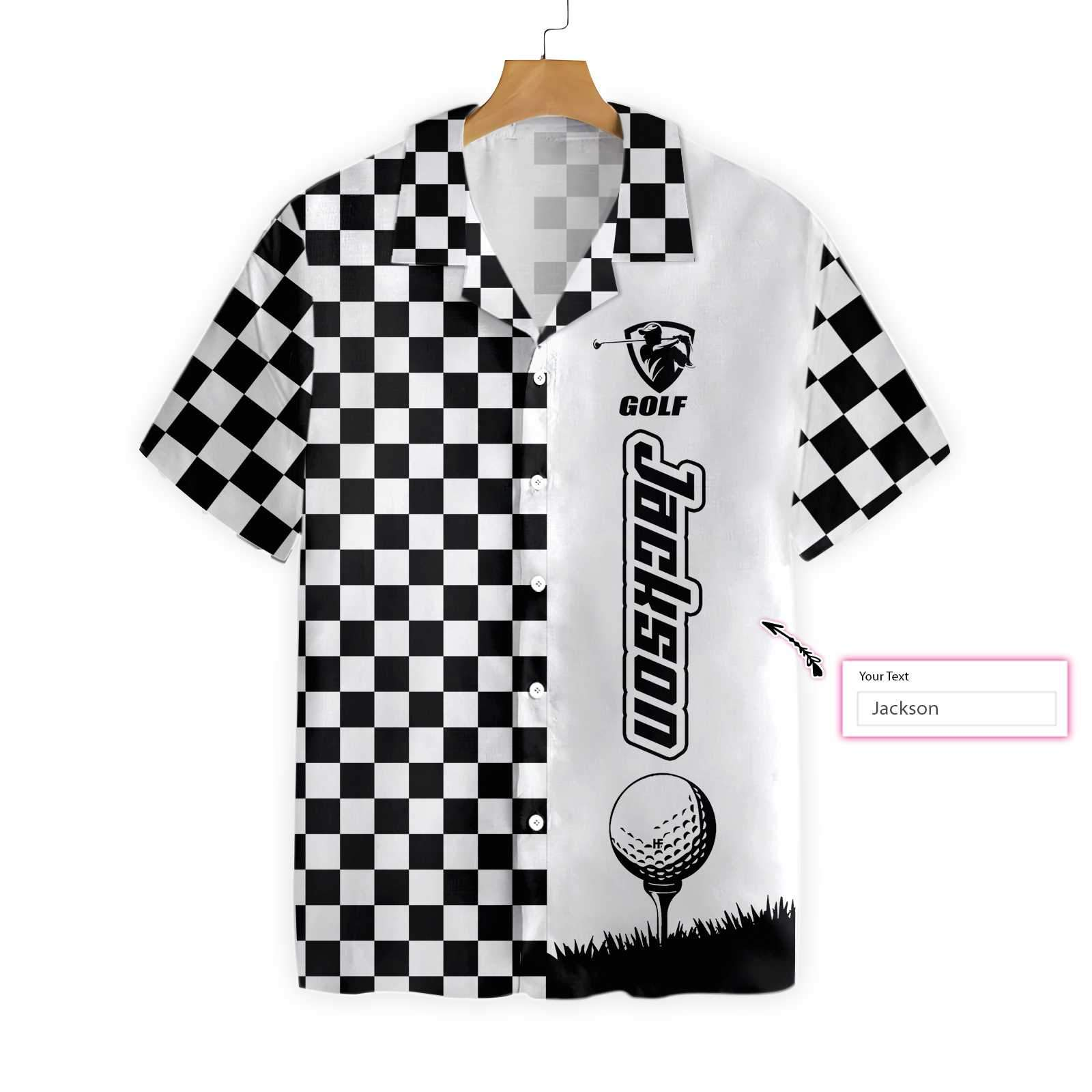Personalized Checkboard Style Golf Hawaiian Shirt