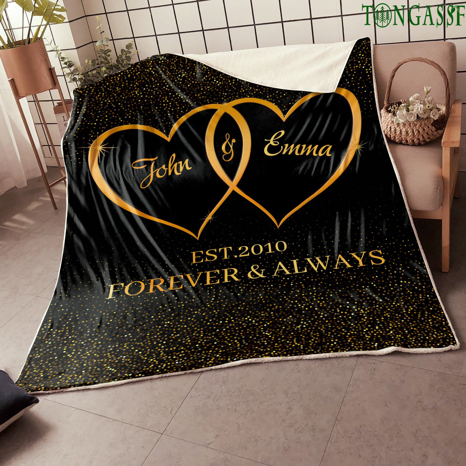 Personalized Couple love forever and always black fleece blanket