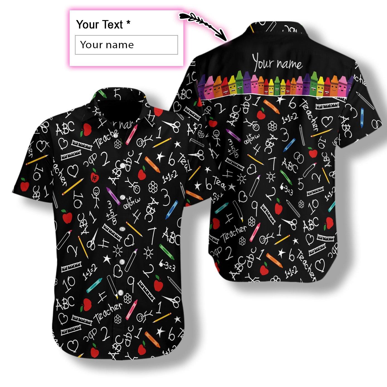 Personalized Crayons Teacher Hawaiian Shirt