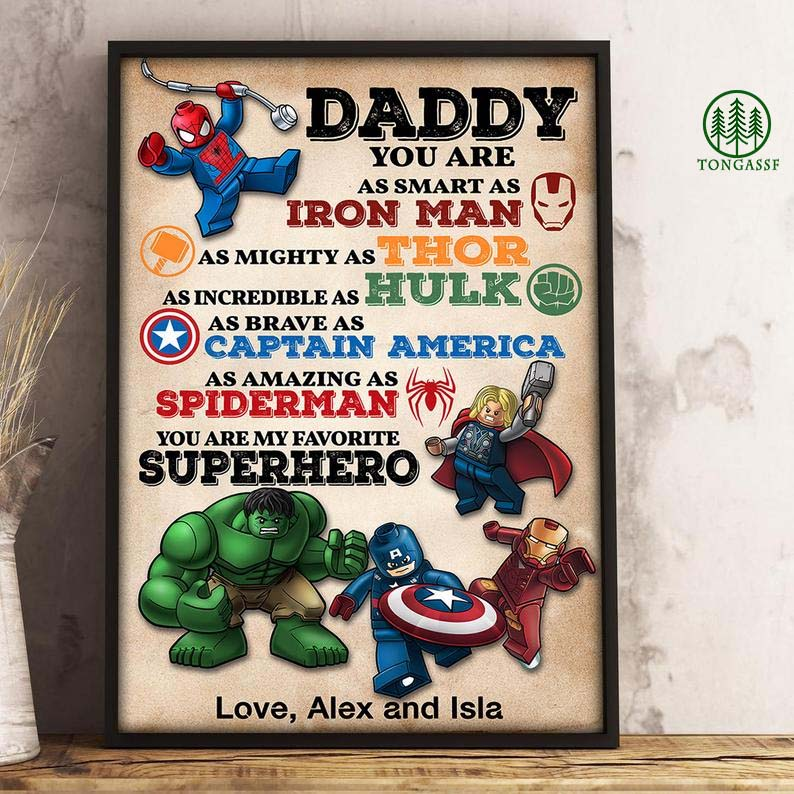 Personalized Daddy You Are My Favorite Superhero Poster