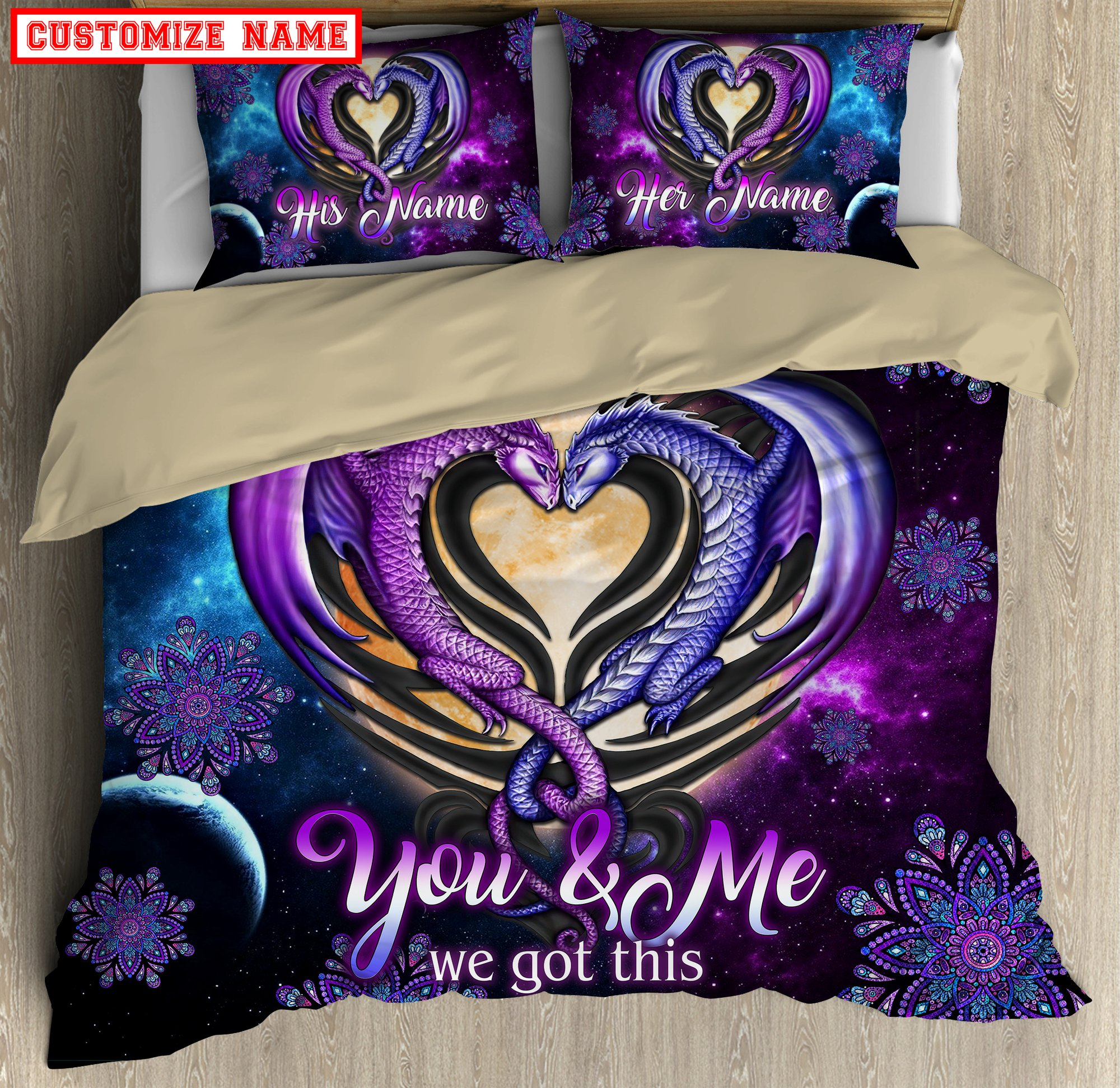 Personalized Dragon 3D You And Me We Got This Bedding Set 3