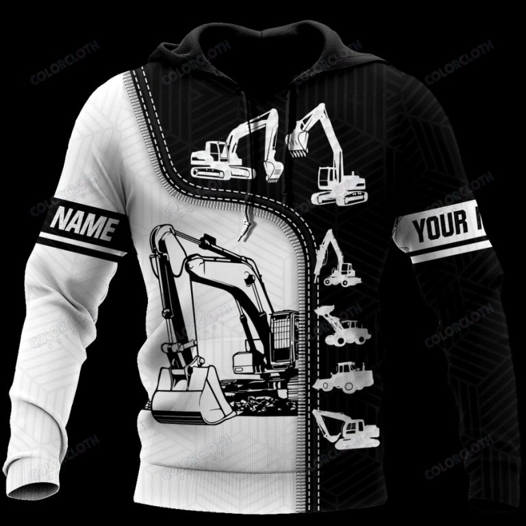 Personalized Excavator Black and White 3D Shirt
