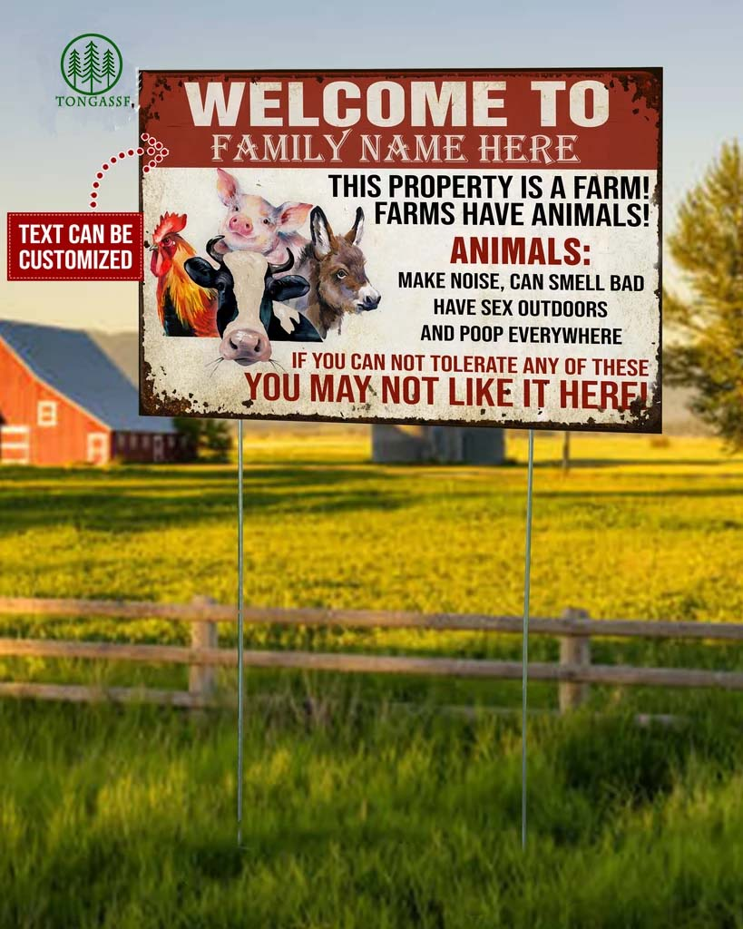 Personalized Farmer Warning This Property Is A Farm Metal Sign