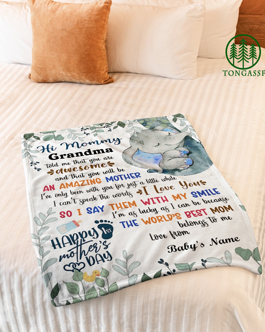Personalized First Mothers Day Gift First Time Mom Gift Fleece Blanket