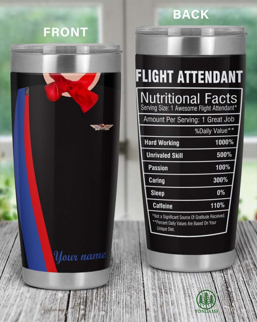 Personalized Flight Attendant Nutritional Facts Tumbler