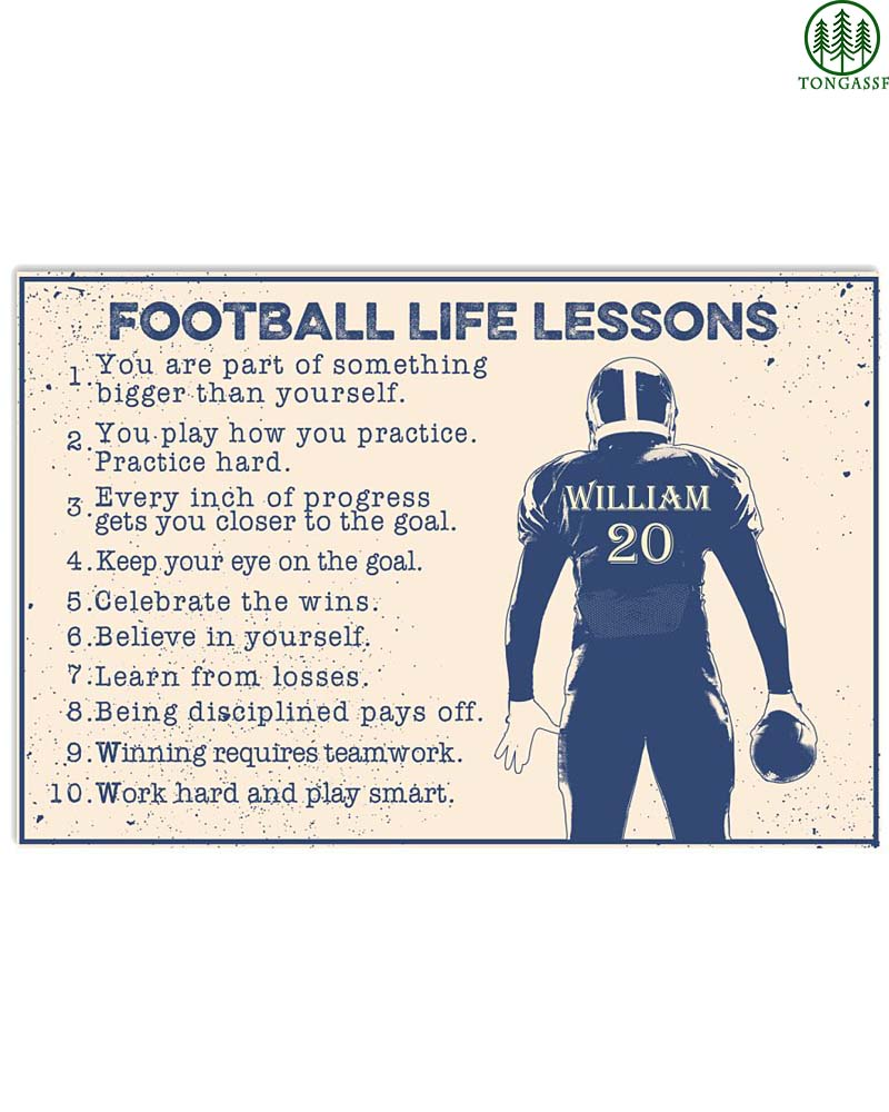 Personalized Football Life Lessons Poster