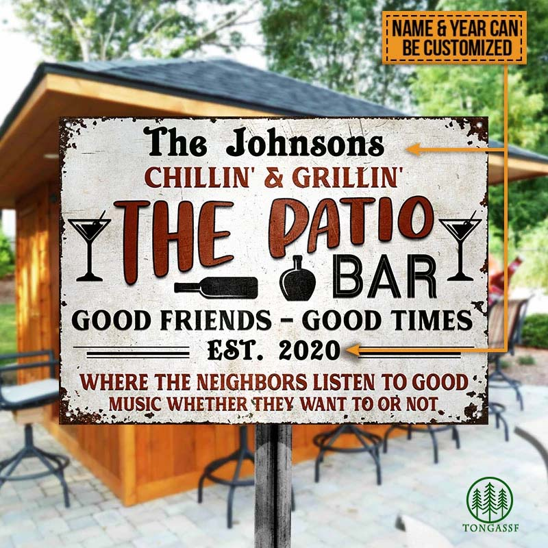 Personalized Grilling Patio Backyard Metal Sign