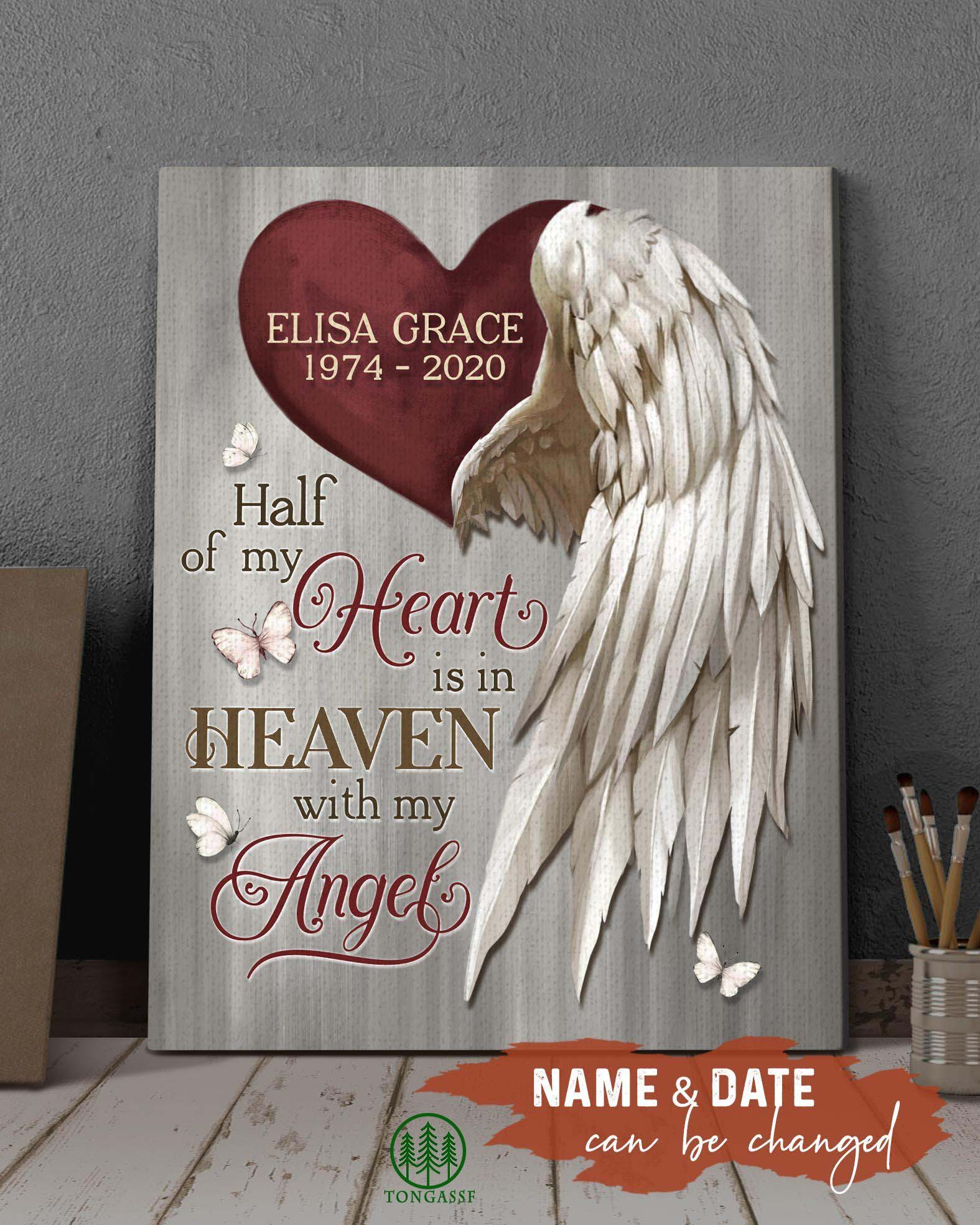 Personalized Half Of My Heart Is In Heaven With My Angel Wrapped Canvas Prints