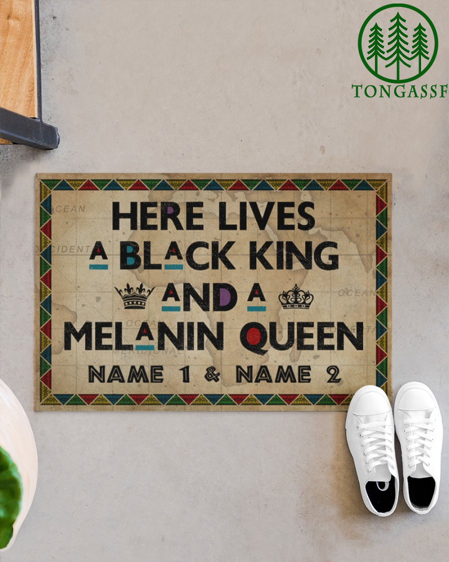 Personalized Here Lives A Black King And A Melanin Queen Doormat