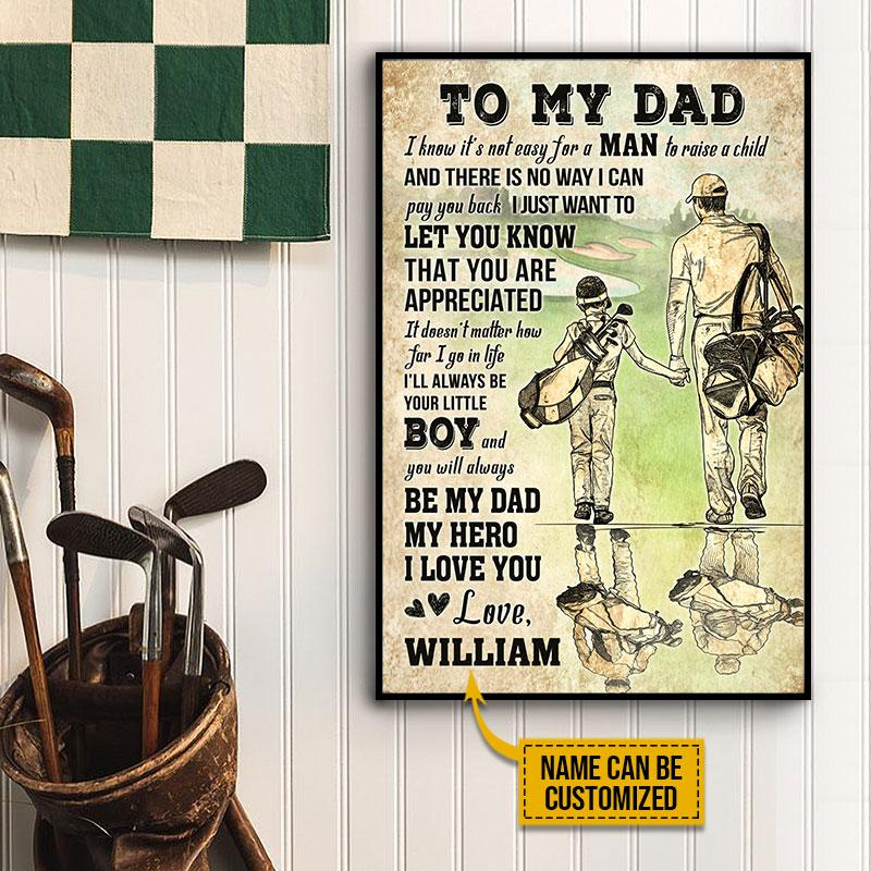 Personalized Hero Dad and Son Partner Golfer Poster