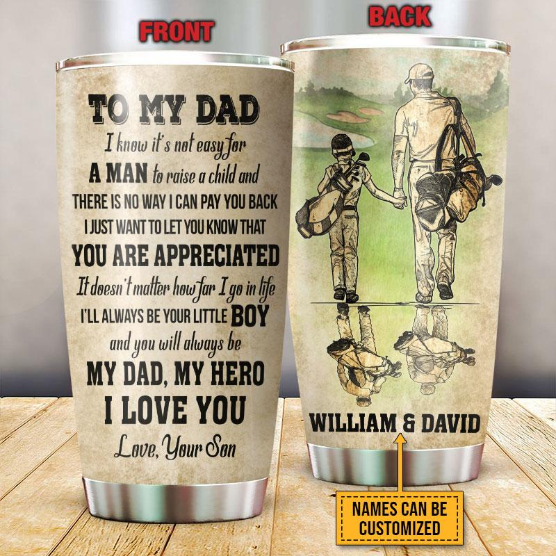 Personalized Hero Dad and Son Partner Golfer tumbler