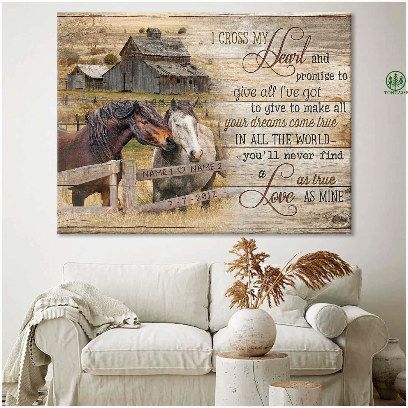 Personalized I Cross My Heart Loving Horses Canvas