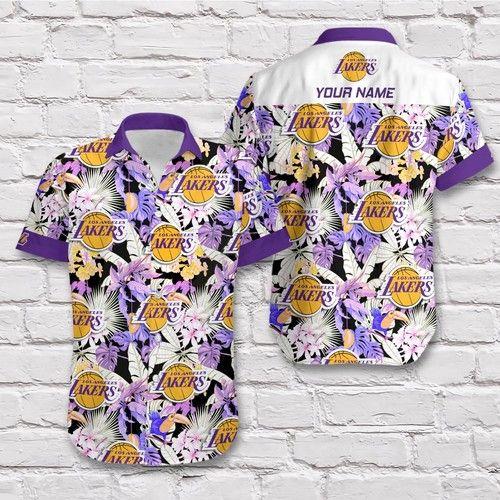 Personalized Los Angeles Lakers NBA Floral Hawaiian Shirt