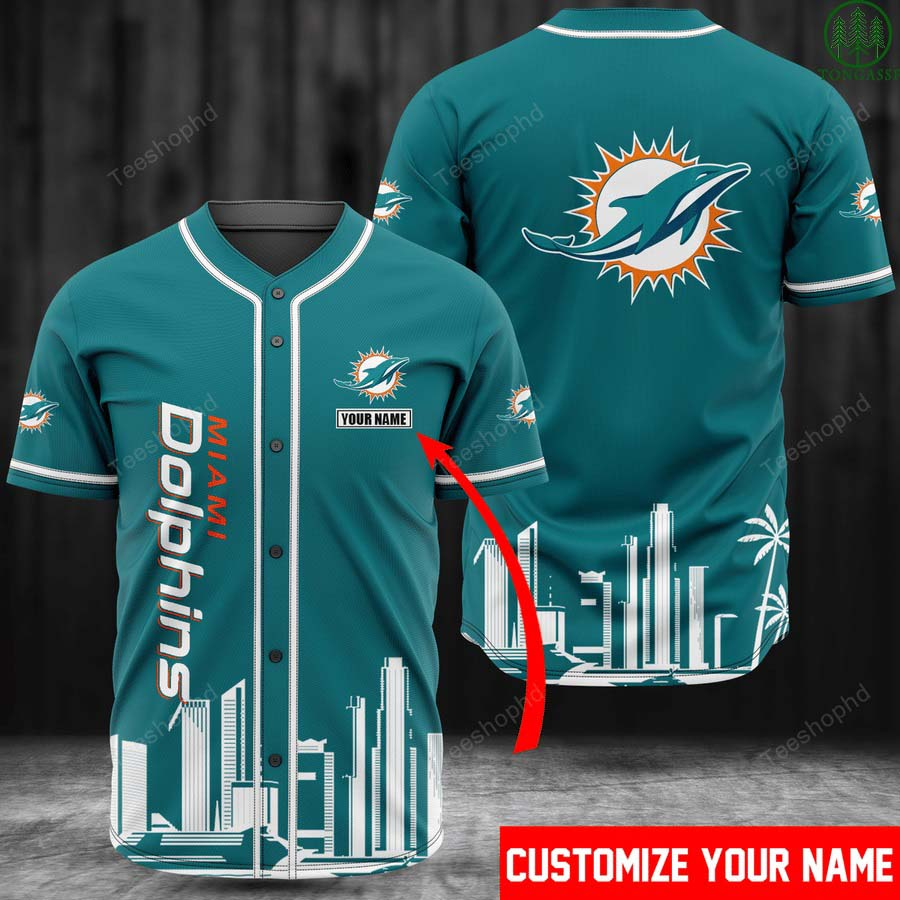 Personalized NFL Miami Dolphins Baseball Jersey Shirt
