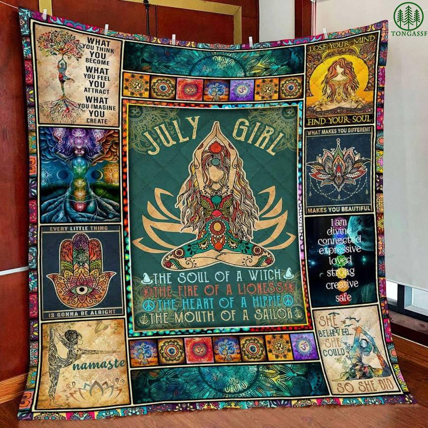 Personalized Namaste Yoga Girl Quilt Blanket