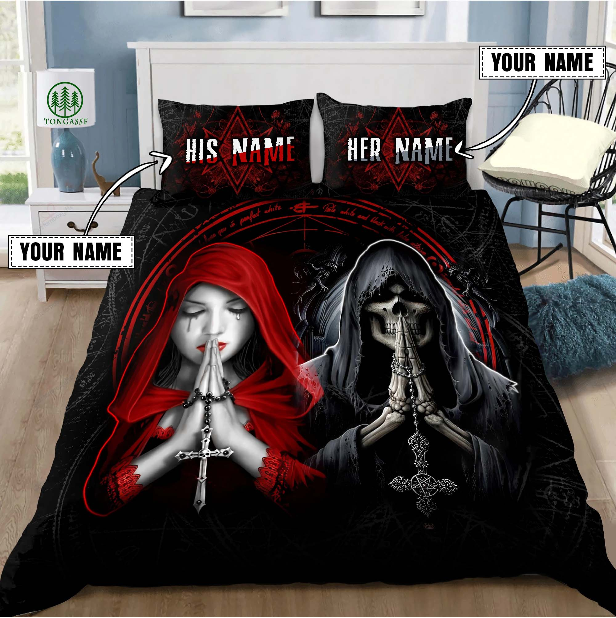 Personalized Name Couple Skull With Cross Bedding Set