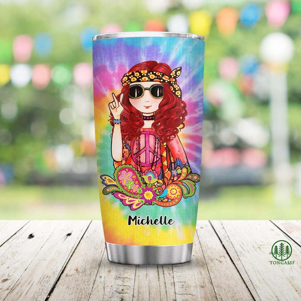 Personalized Old Lady Hippie Stainless Steel Tumbler