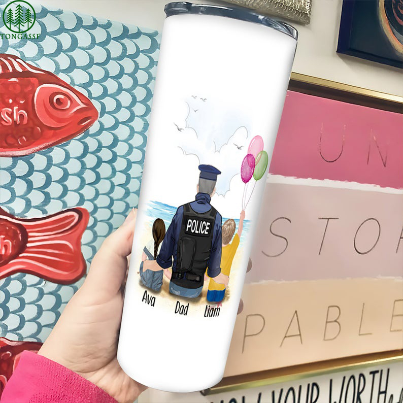 Personalized Our Daddy Is Our Hero Police Dad And Children Tumbler