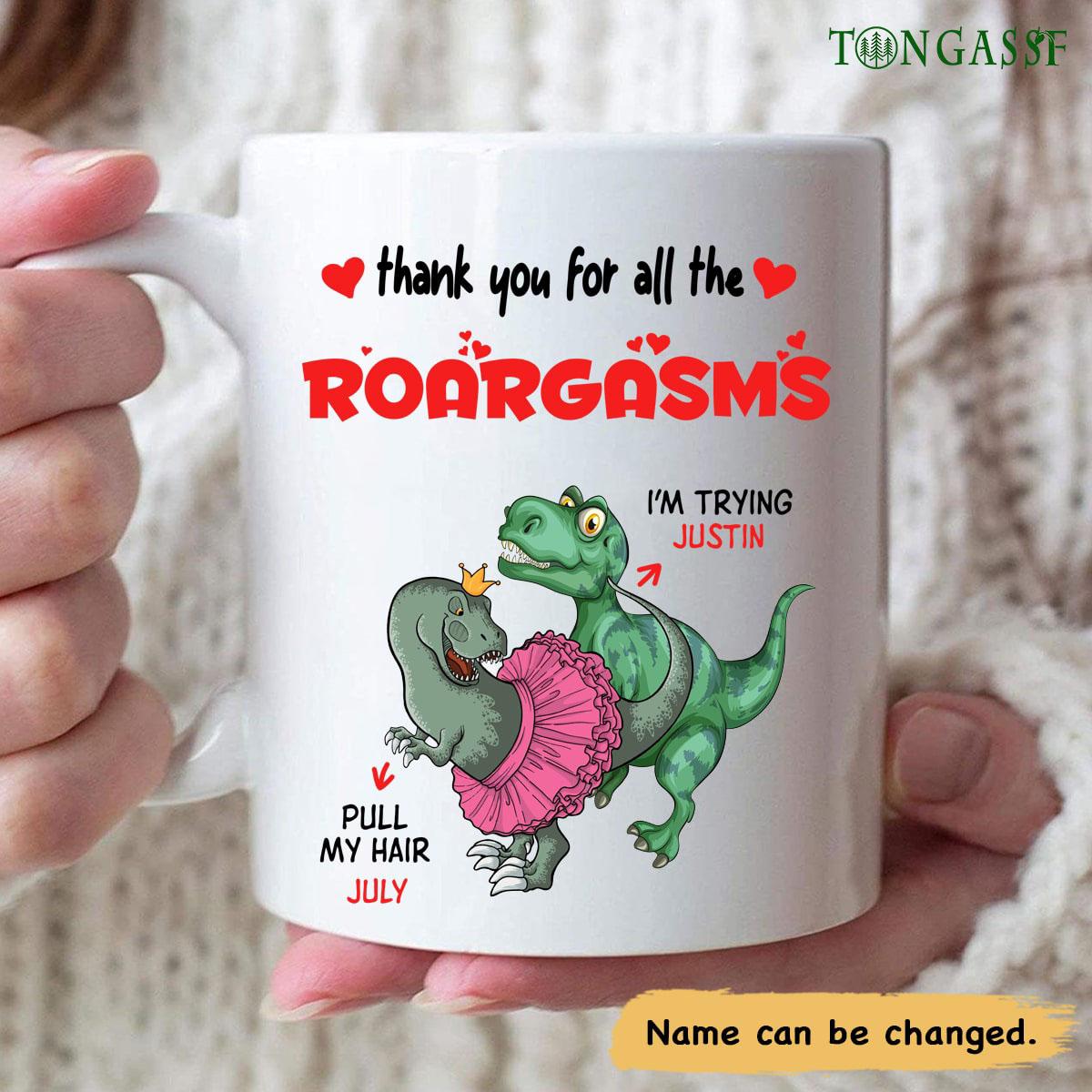 Personalized Roargasms green dinosaur mug
