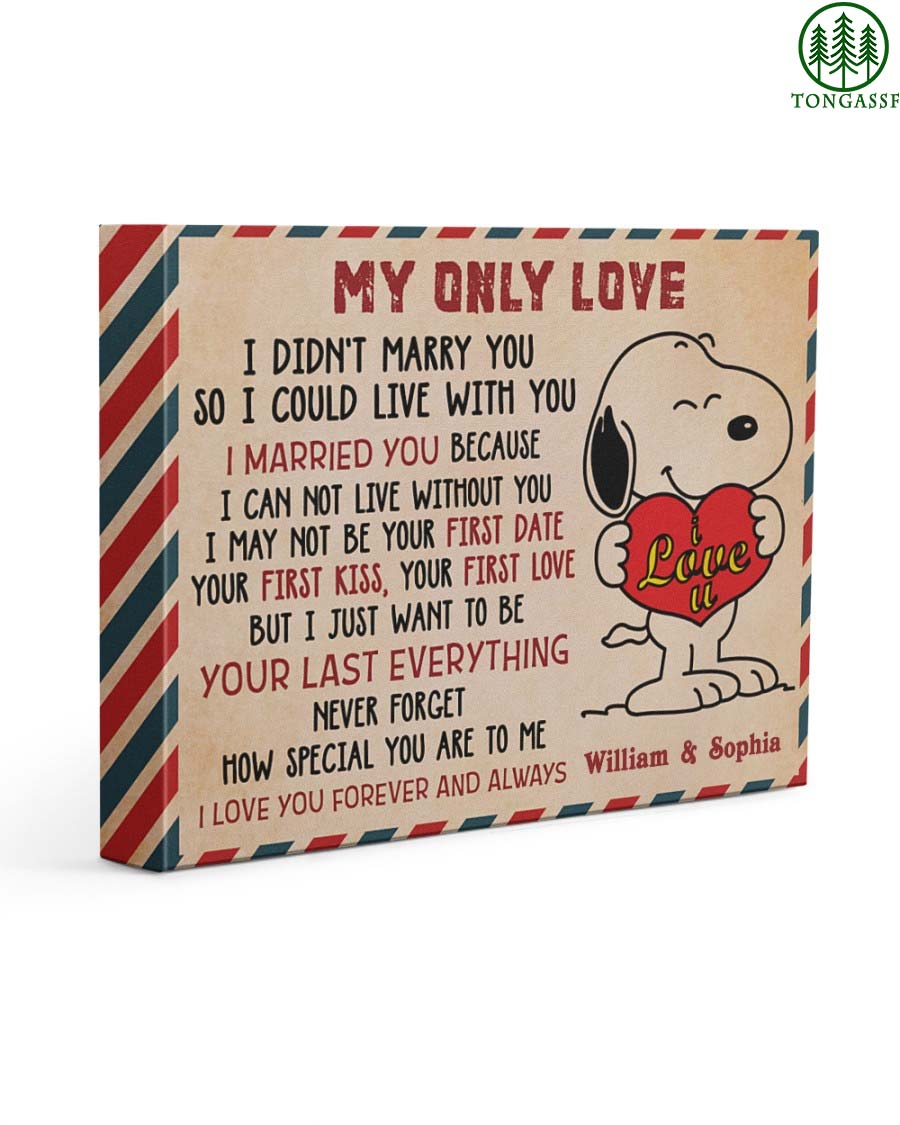 Personalized Snoopy My Only Love Wrapped Canvas Prints