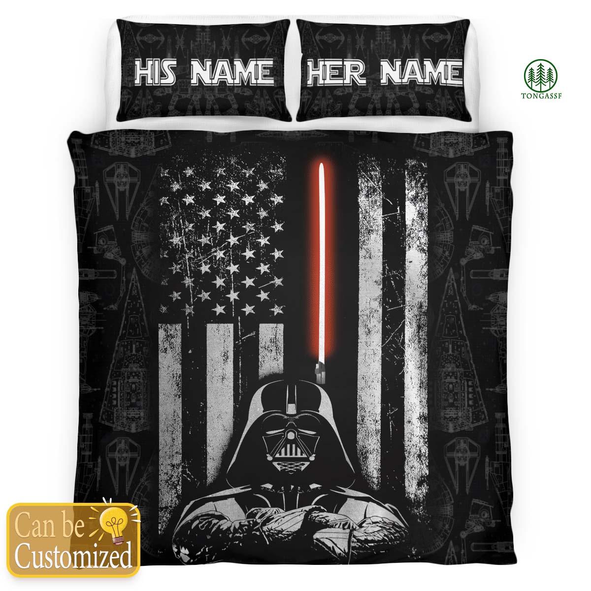 Personalized Star Wars Darth Vader American Flag Bedding Set