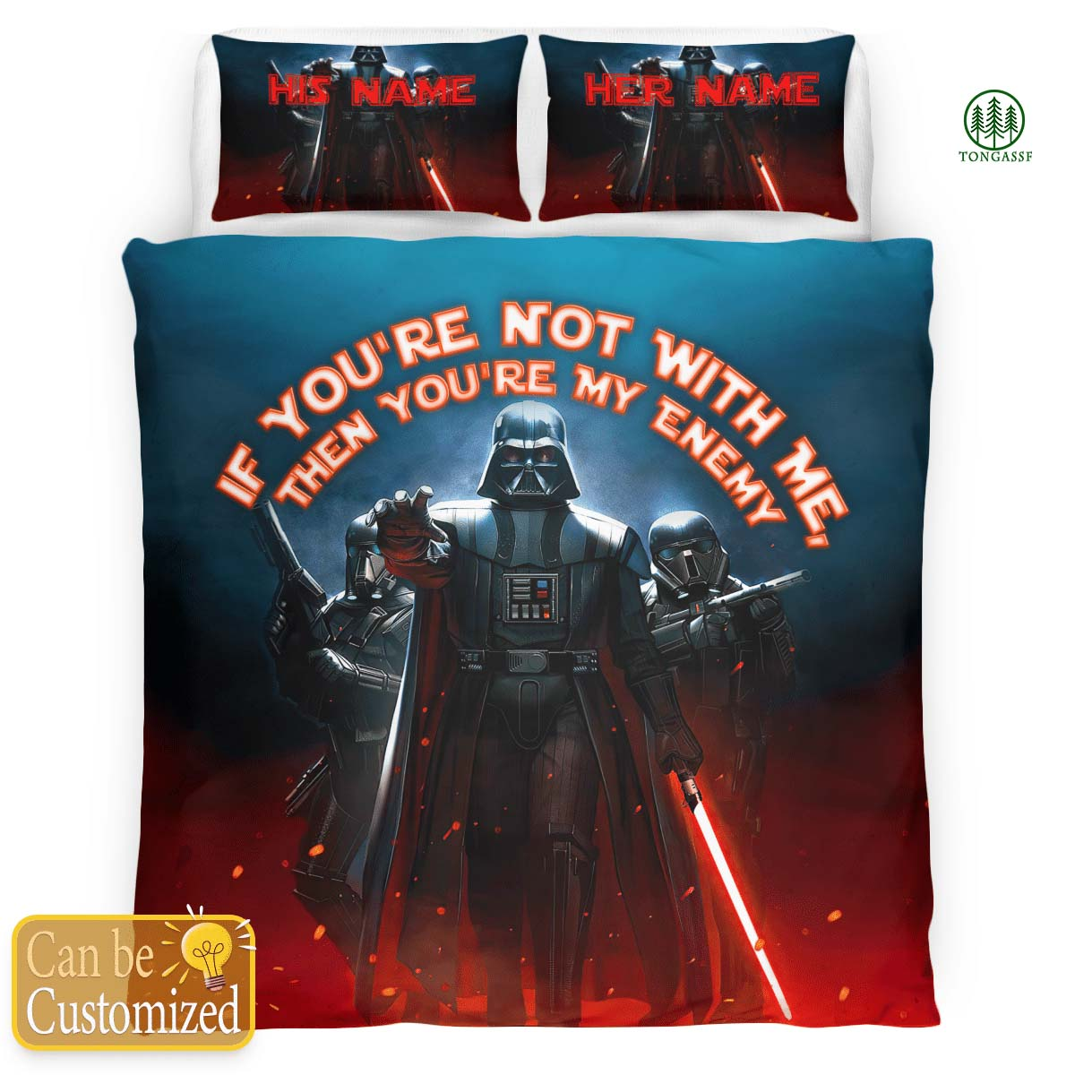 Personalized Star Wars Darth Vader If You Are Not With Me Then You Are My Enemy Bedding Set