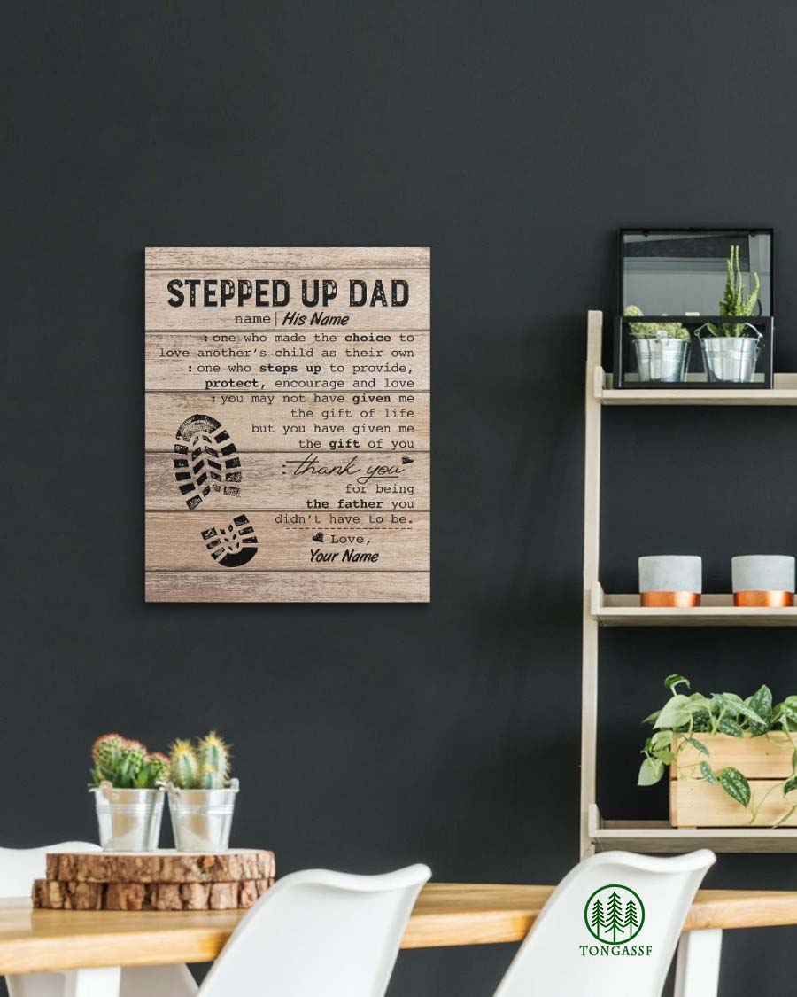 Personalized Stepped Up Dad Gallery Wrapped Canvas Prints