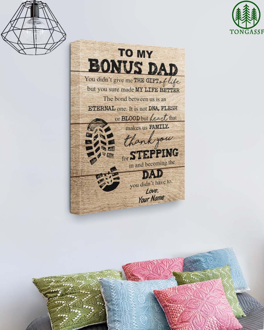 Personalized To My Bonus Dad Gallery Wrapped Canvas Prints