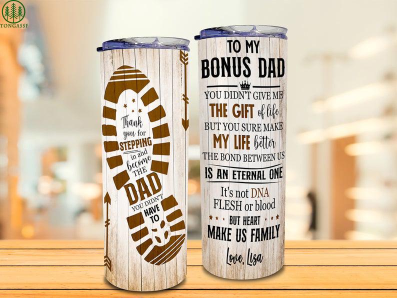 Personalized To My Bonus Dad Shoes Print Tumbler