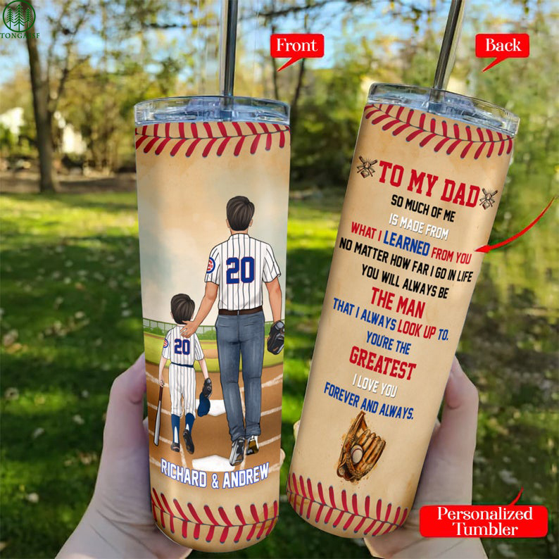 Personalized To My Dad Baseball Dad Son Skinny Tumbler