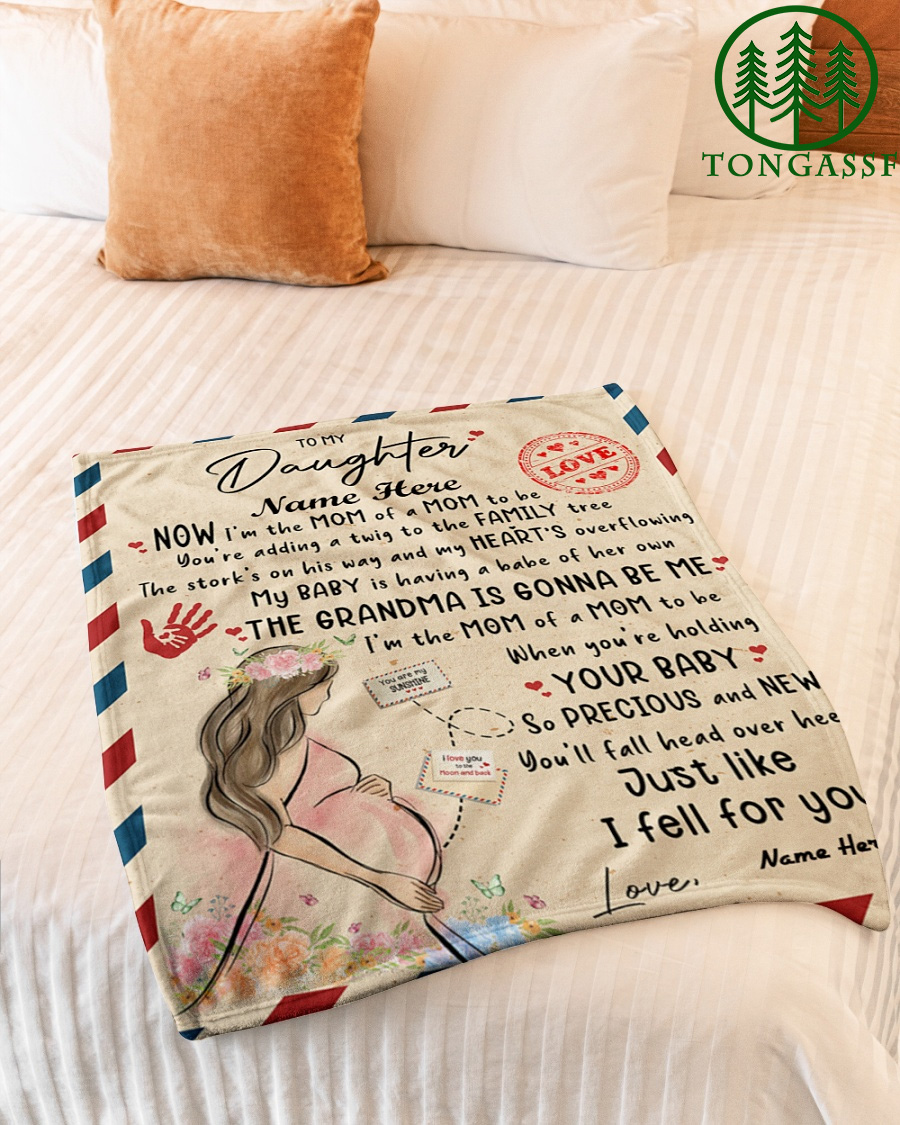 Personalized To My Daughter Holding Baby Letter Fleece Blanket