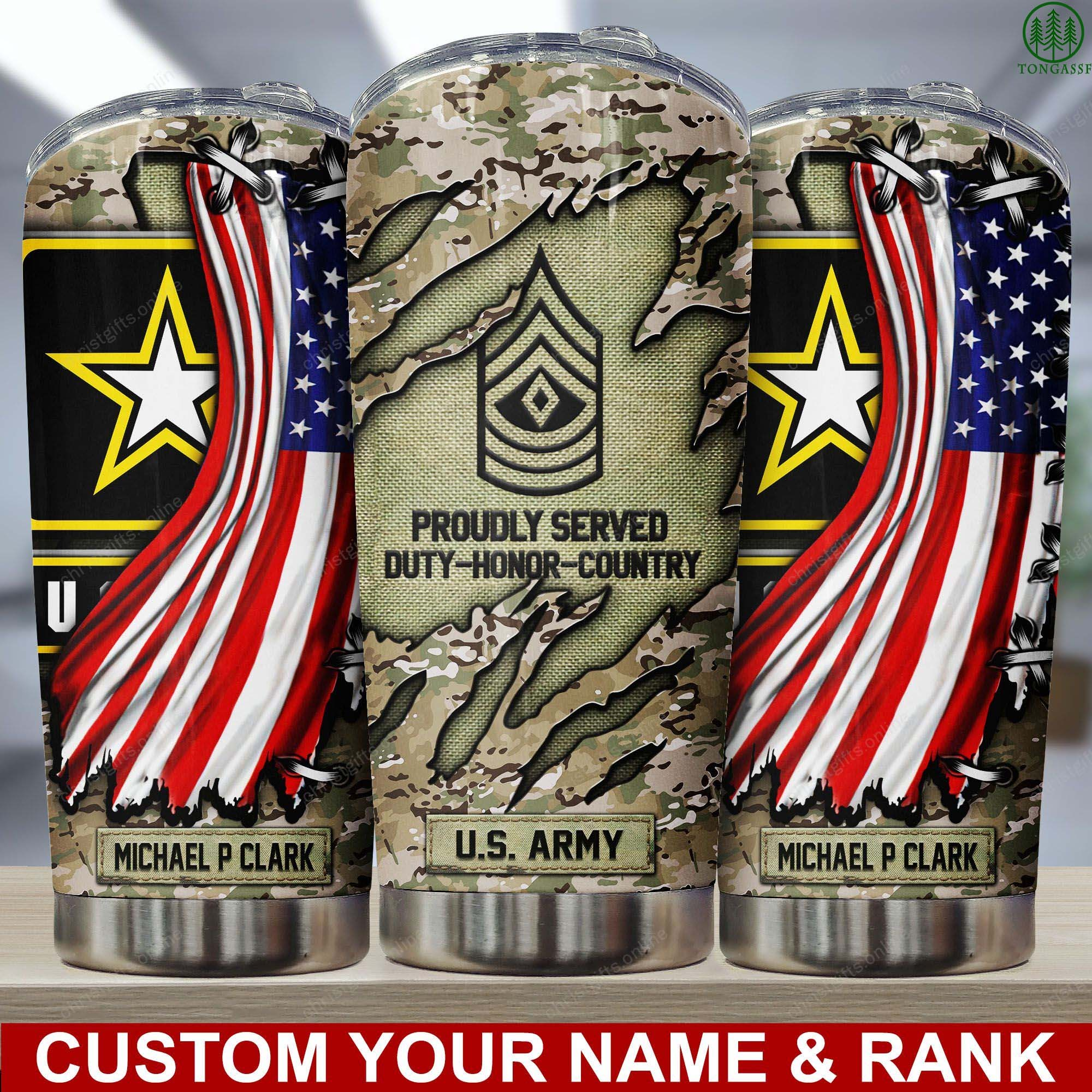 Personalized US Army Military Flag Tumbler
