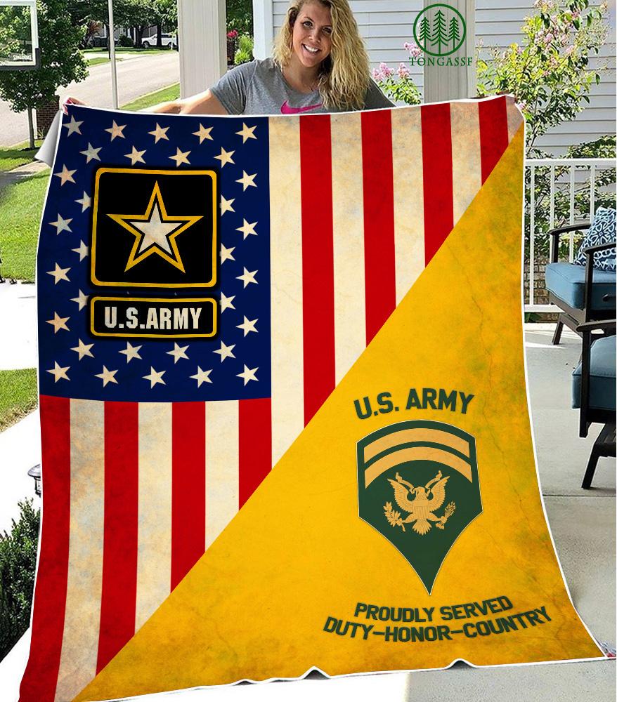 Personalized US Army Military Rank Fleece Blanket