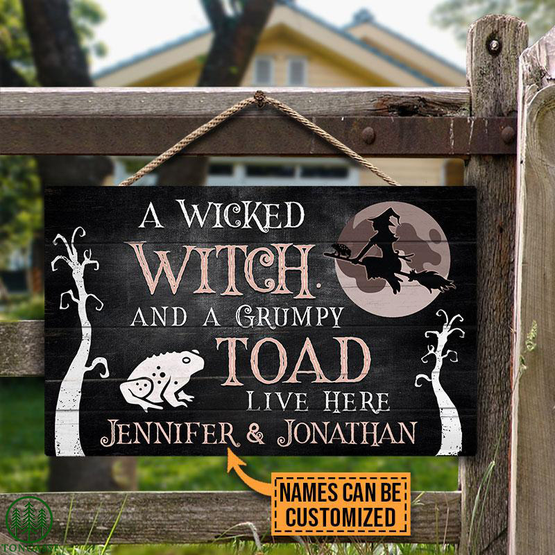 Personalized Wicked Witch Live Here Customized Wood Rectangle Sign