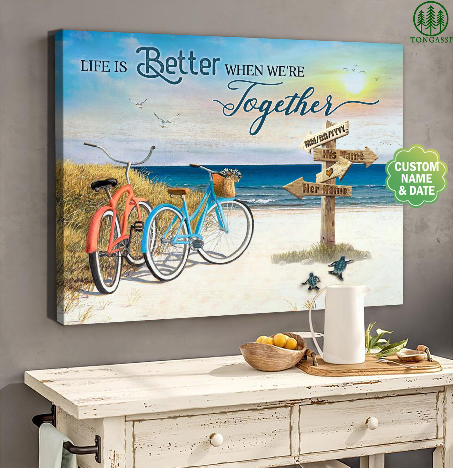 Personalized Wife And Husband Life Is Better When We Are Together Canvas