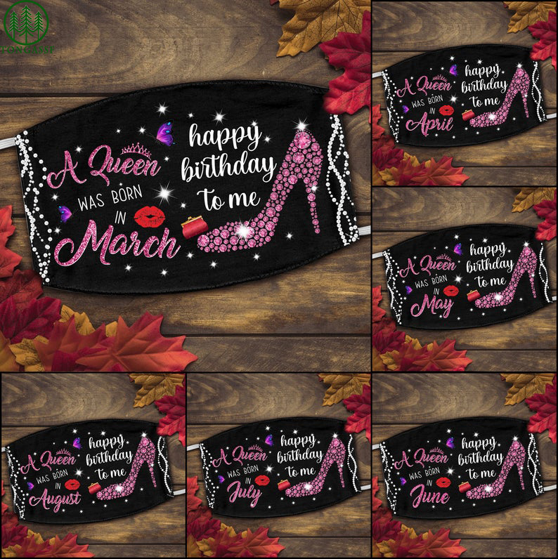 Personalized a queen was born happy birthday pink face mask