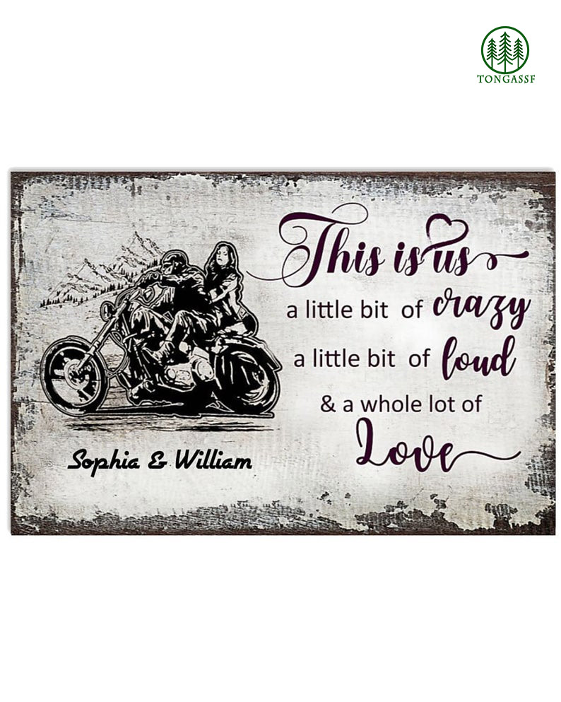 Personalized crazy love motorcycle canvas