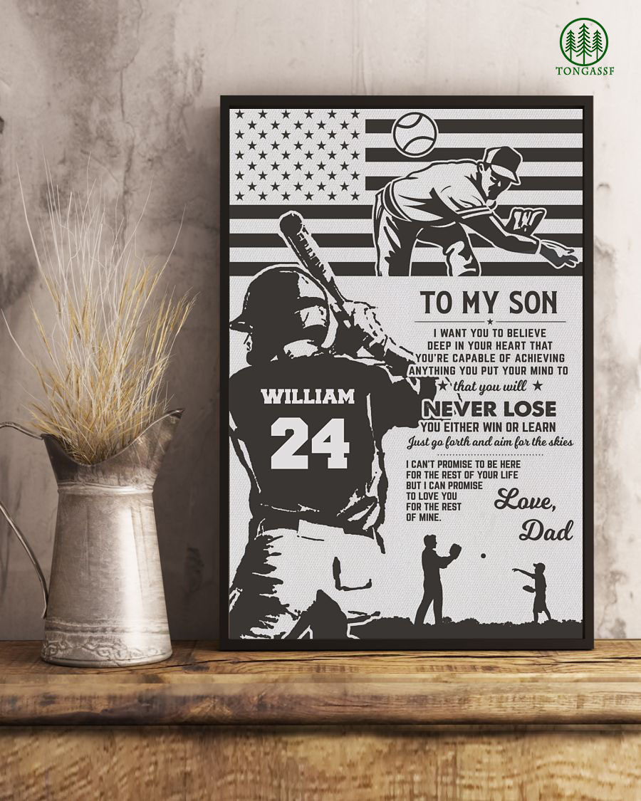 Personalized dad to son pitcher and batter baseball poster