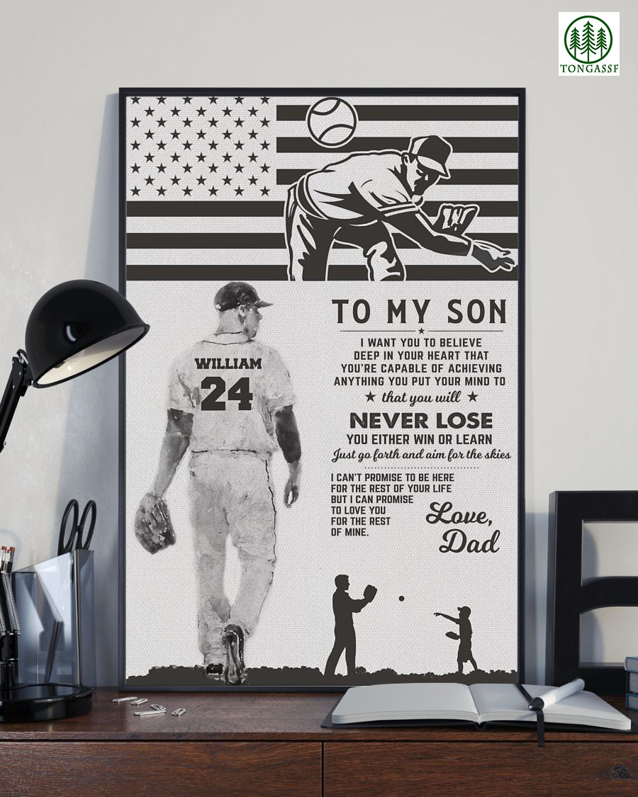 Personalized dad to son pitcher and catcher baseball poster