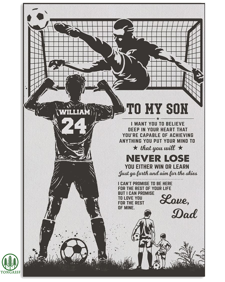 Personalized father and son soccer poster