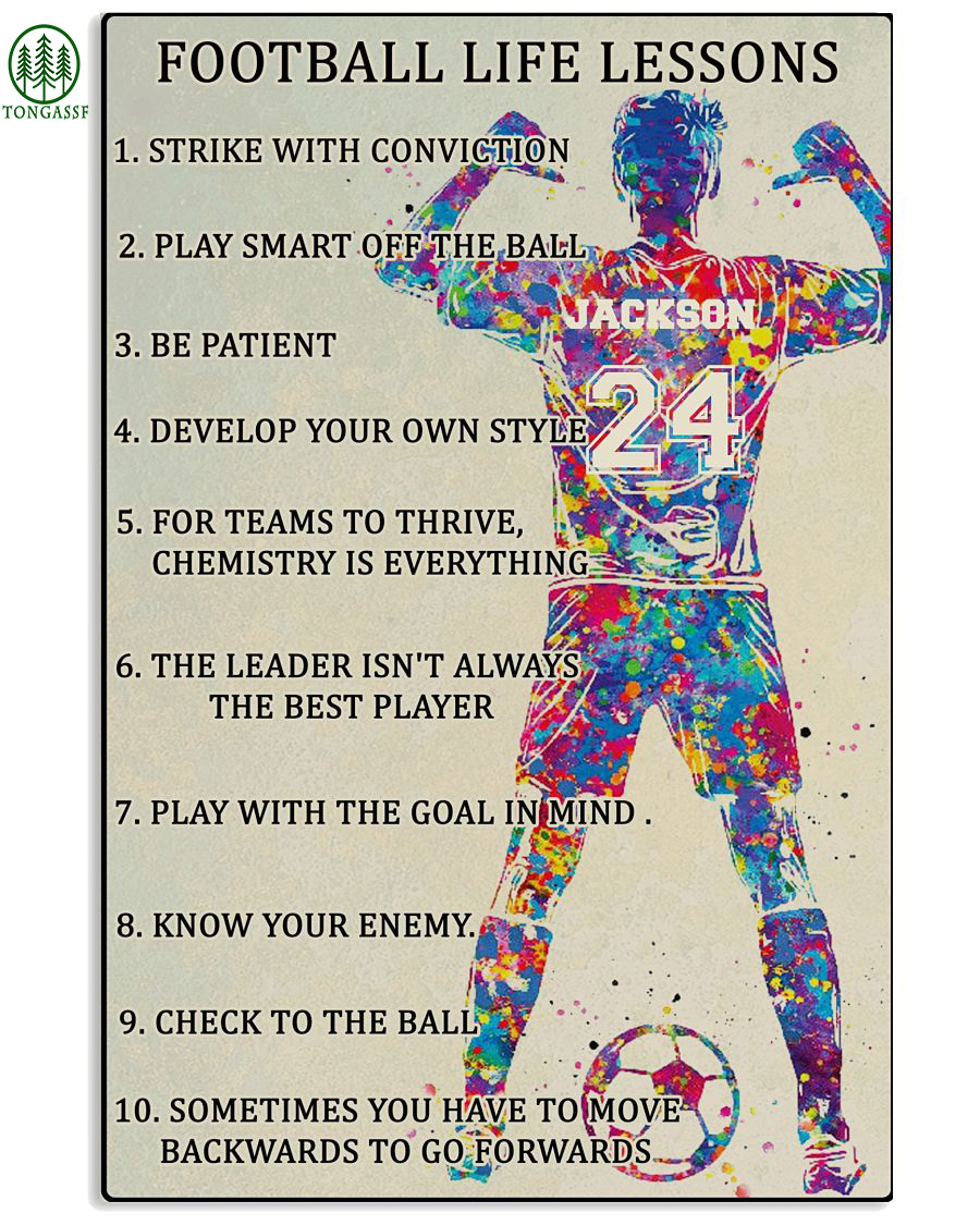 Personalized football life lessons soccer poster