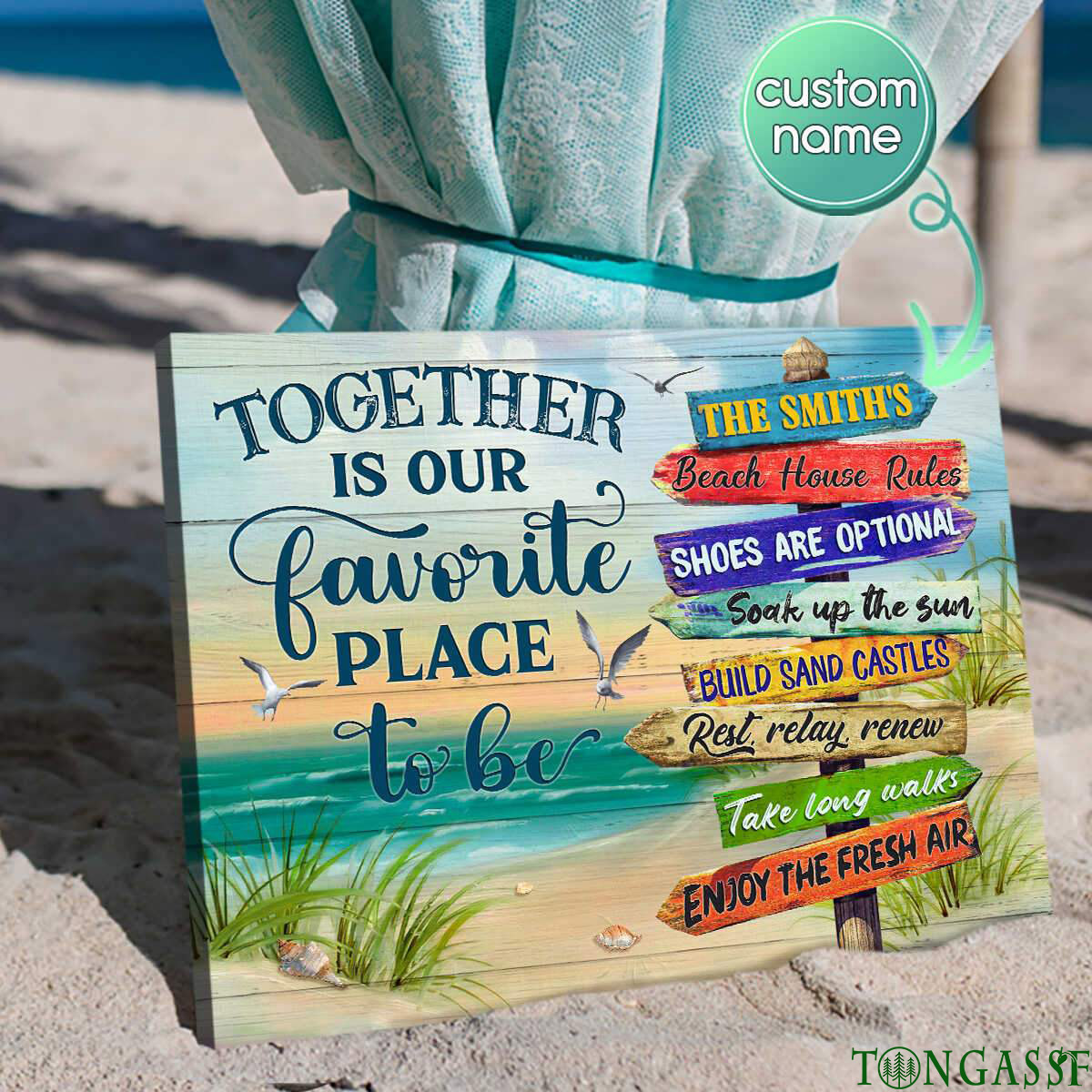 Personalized together is our favorite place to be beach sign canvas